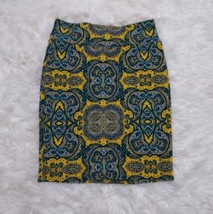 LLR LuLaRoe Mustard Blue Print Cassie Skirt Large